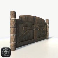 Wooden fortress gates low poly