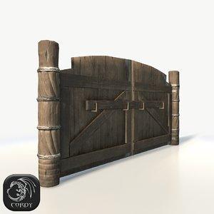 wooden gates 3d max