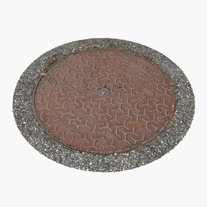 manhole cover 3d max