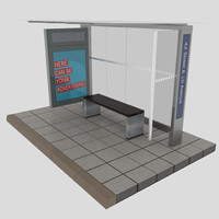 new york bus stop 3d max