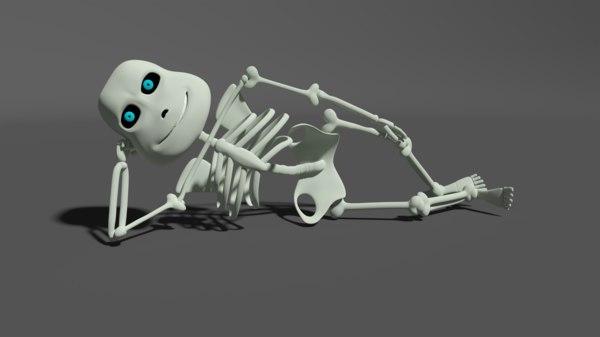 cartoon skeleton 3d model