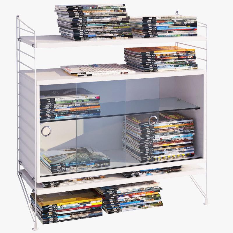 3d model of string bookshelf journals