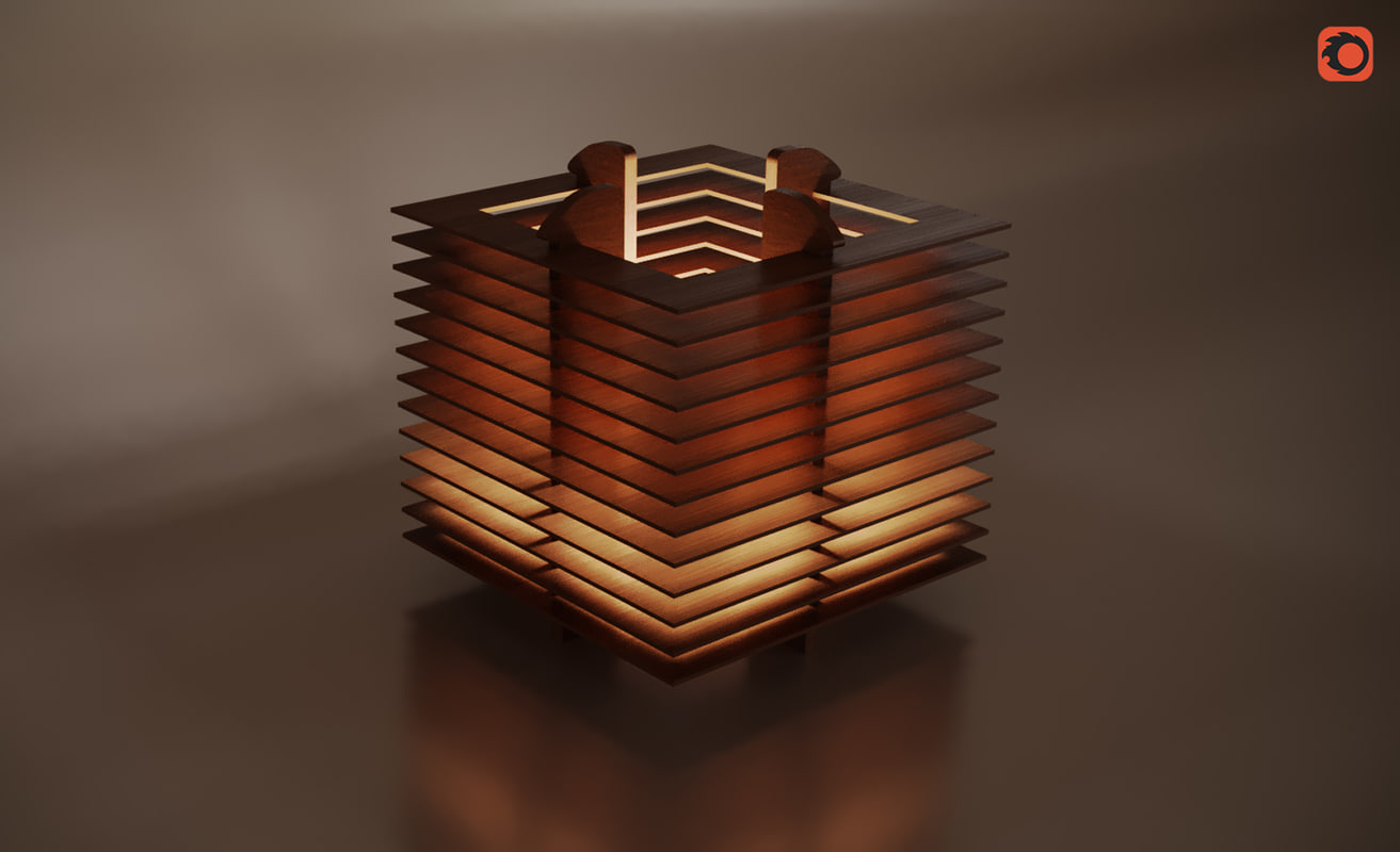 wooden lampshade 3D