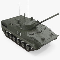 Russian Armored Vehicle BMP-3 Green Rigged 3D Model