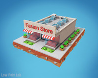 Cartoon Fashion Store Low Poly Building