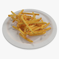 3D model french fries paper plate