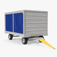 airport baggage cart covered 3D model