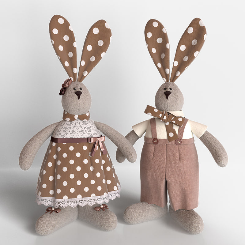 3D model tilda toys hares