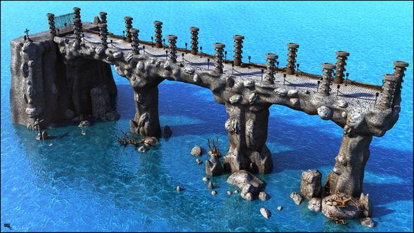 3D bridge medieval fantasy