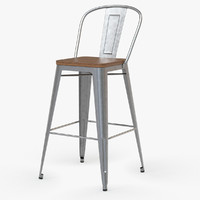 Vintage Metal Bar Stool with Back_II