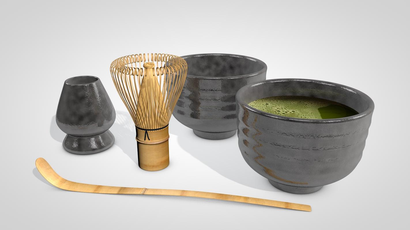 matcha tea set 3D