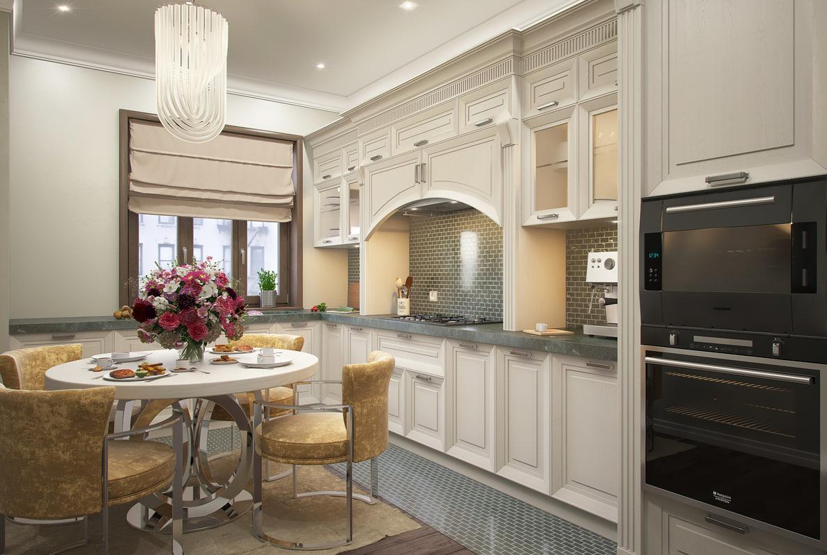 3D kitchen scene english classic furniture