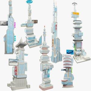 3D model set skyscraper science fiction