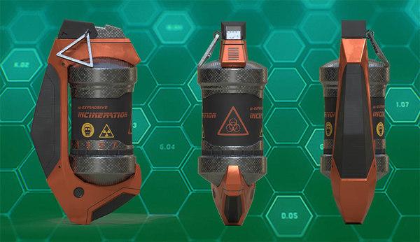 sci fi hand grenade 3D model