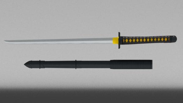 3D ninjato sword sheath s weapons