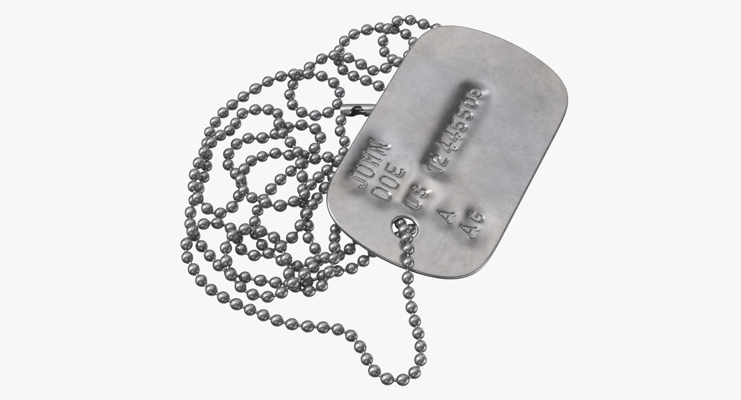 3D model dog tag chain john
