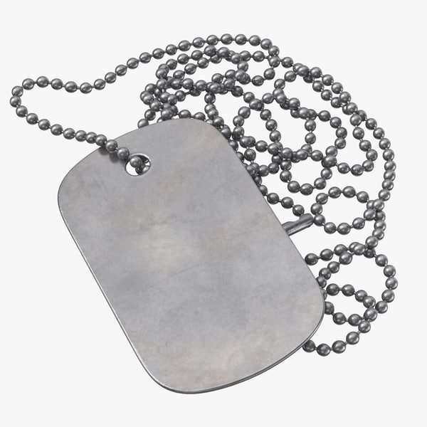 dog tag blank chain 3D model