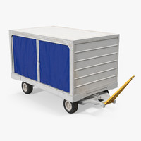 Airport Baggage Cart Covered Rigged 3D Model