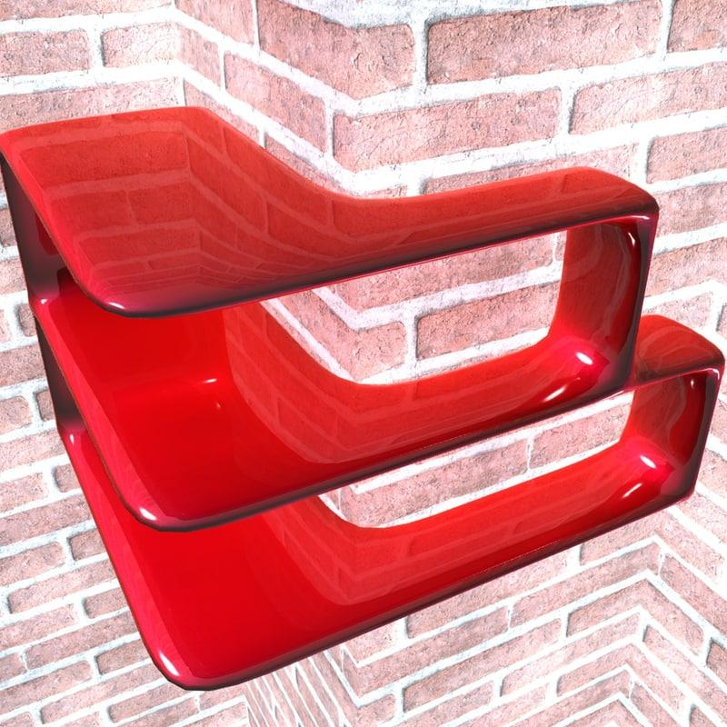 3D model corner shelf