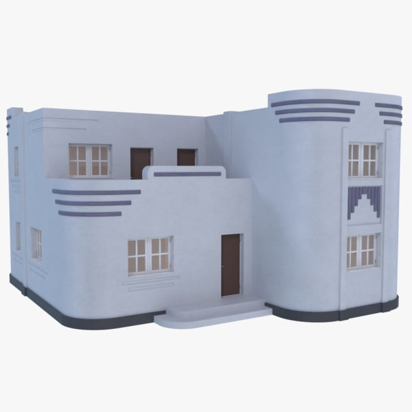 streamline moderne home interior 3D model