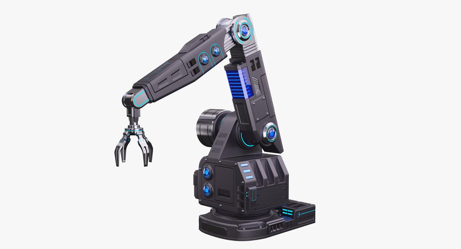 futuristic robotic arm stylized 3D model
