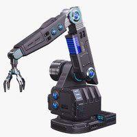 futuristic robotic arm stylized 3D model
