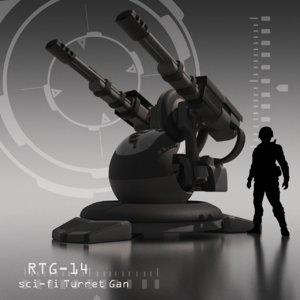 3D sci-fi turret gan rtg-14 model