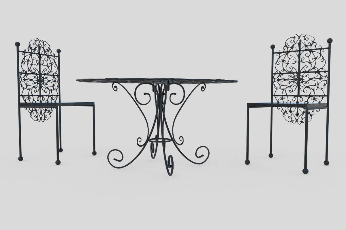 3D garden table chair model