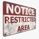 Sign Restricted Area Game Ready PBR Textures