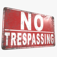 3D ready trespassing sign model