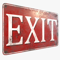 ready retro vintage exit sign 3D model