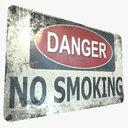 Danger No Smoking Sign Game Ready PBR Textures