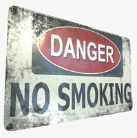 ready danger smoking sign 3D model