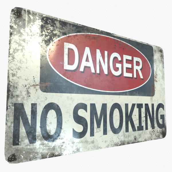 ready danger smoking sign 3D model