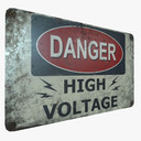 Sign Danger High Voltage Game Ready PBR Textures