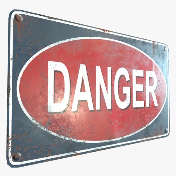 3D ready retro danger sign model