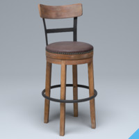 3D model wooden bar chair wood