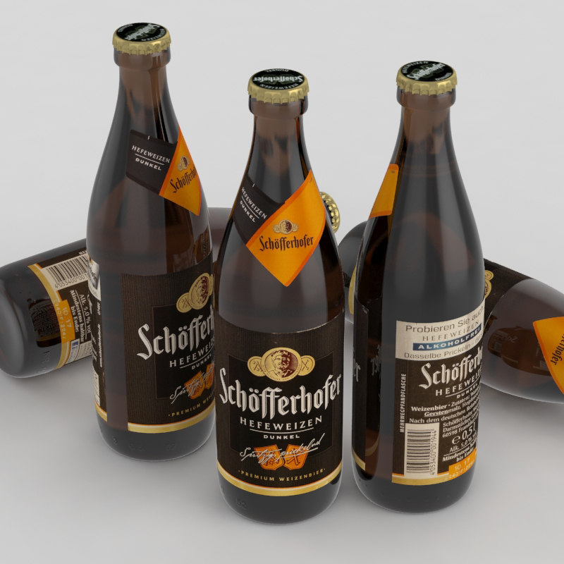 3D beer bottle dunkel model
