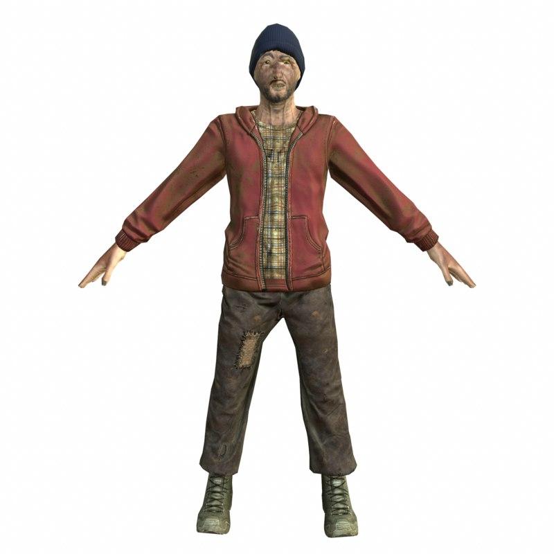 homeless hobo man mobile 3D model