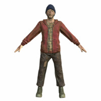 homeless hobo man mobile 3D model