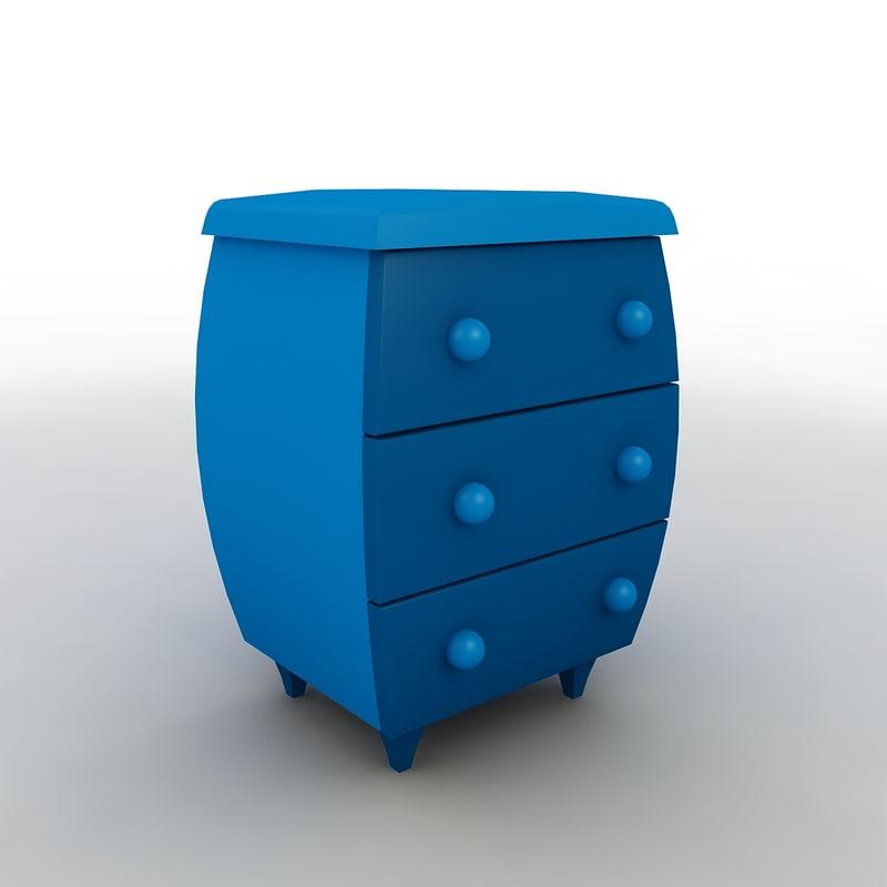 3D cartoon dresser 01 model