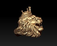 3D lion ring crown
