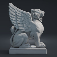 sculpture lion wings 3D model