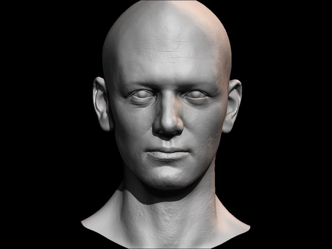 3D male face uv model