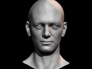 3D male face uv model
