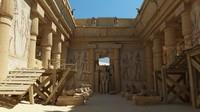 3D sun egyptian temple architecture scene