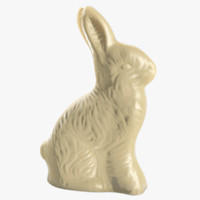3D white chocolate easter bunny model