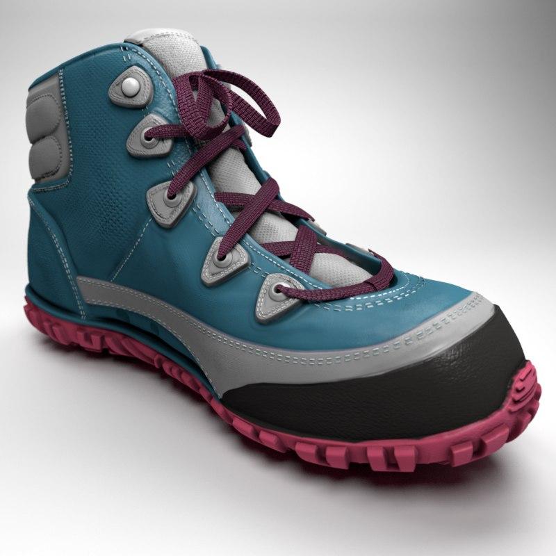 women hiking boots 3D