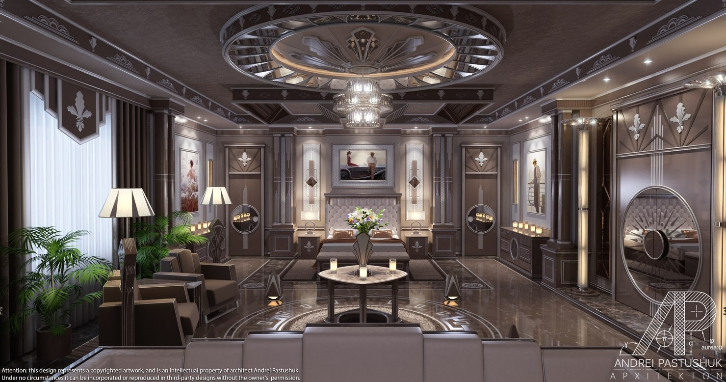 3D art deco bedroom luxury model