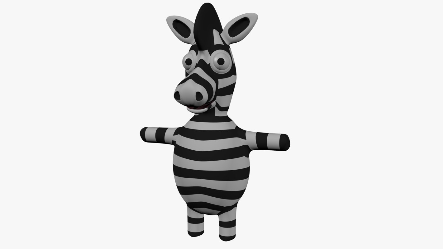 cartoon zebra 3D model
